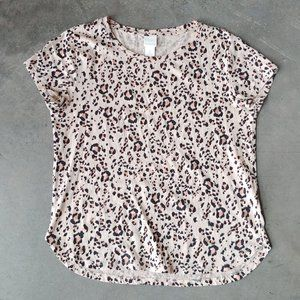 H&M Ivory Brown Black Leopard Animal Print Tee S